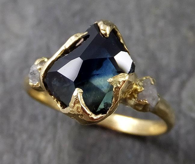 Partially faceted sapphire gemstone Raw Rough Diamond 18k Yellow Gold Engagement multi stone 1131