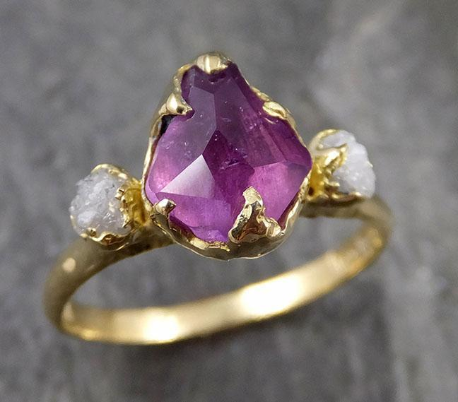 Partially faceted sapphire gemstone Raw Rough Diamond 18k Yellow Gold Engagement multi stone 1132