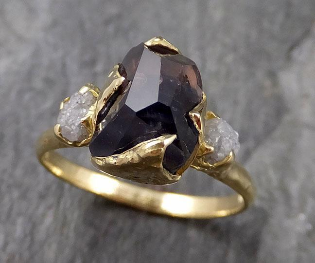 Partially faceted sapphire gemstone Raw Rough Diamond 18k Yellow Gold Engagement multi stone 1133