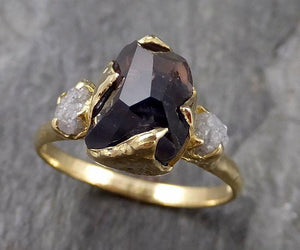 Partially faceted sapphire gemstone Raw Rough Diamond 18k Yellow Gold Engagement ring multi stone 1133
