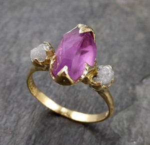 Partially faceted sapphire gemstone Raw Rough Diamond 18k Yellow Gold Engagement ring multi stone 1134