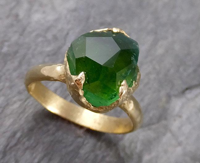 Partially faceted Solitaire Green Tourmaline 18k Gold Engagement Ring One Of a Kind Gemstone Ring byAngeline 1135