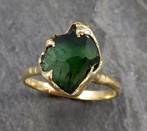 Partially faceted Solitaire Green Tourmaline 18k Gold Engagement Ring One Of a Kind Gemstone Ring byAngeline 1136
