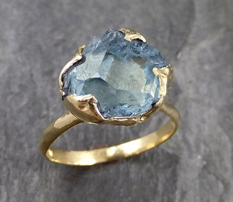 Partially Faceted Raw 18k Aquamarine Solitaire Ring Statement Wedding Ring One Of a Kind Gemstone Ring Bespoke 1137