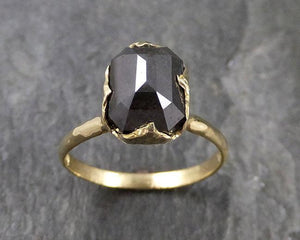 Carbonado Fancy cut Solitaire Engagement 18k yellow Gold Wedding Ring byAngeline 1138