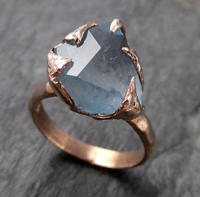 Partially faceted Aquamarine Solitaire Ring 14k rose gold Custom Gemstone Ring Bespoke byAngeline 1139