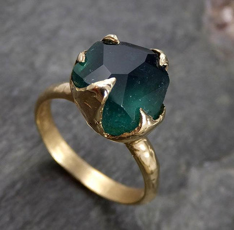 Partially faceted Solitaire Green Tourmaline 14k Gold Engagement Ring One Of a Kind Gemstone Ring byAngeline 1140