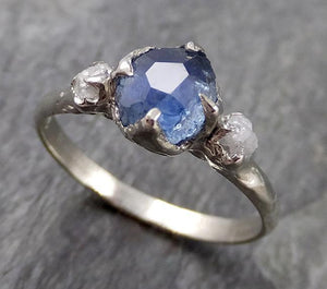 Partially faceted Montana Sapphire Diamond 14k White Gold Engagement Ring Wedding Ring Custom One Of a Kind blue Gemstone Ring Multi stone Ring 1141