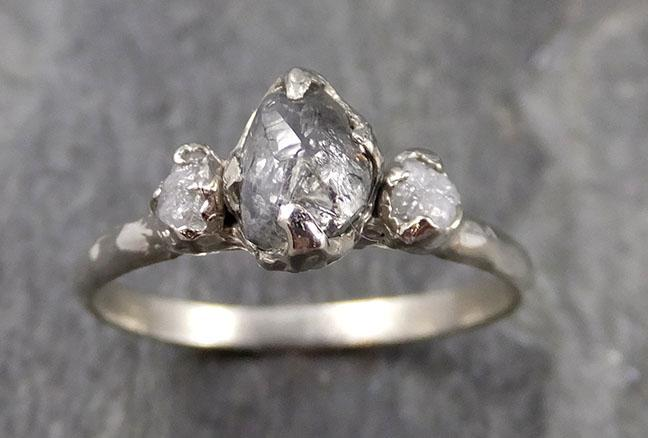 Fancy cut salt and pepper Diamond Multi stone Engagement 14k White Gold Wedding Ring Rough Diamond Ring byAngeline 1142