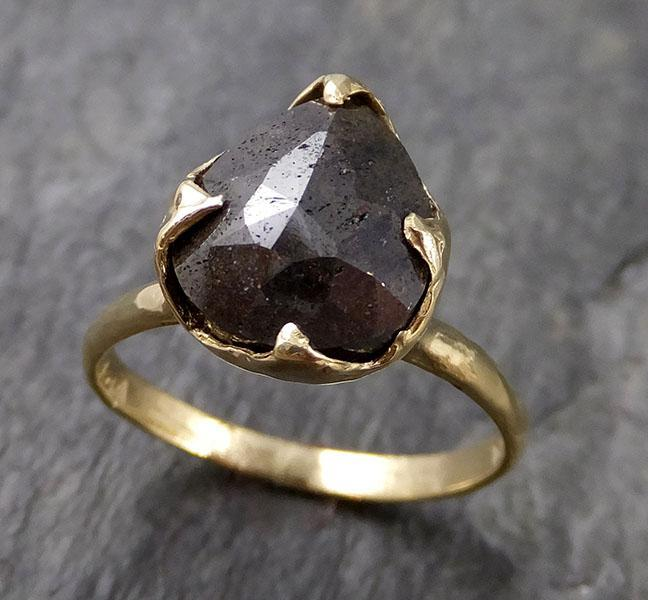 Carbonado Fancy cut Solitaire Engagement 18k yellow Gold Wedding Ring byAngeline 1143