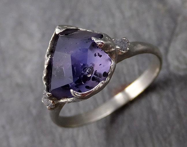 Partially faceted Sapphire Raw Diamond 14k white Gold Engagement Ring Wedding Ring Custom One Of a Kind Gemstone Ring Three stone Ring 1146