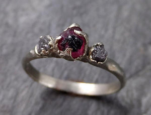 Raw Rough Diamond Ruby Multi Stone Ring 14k white Gold red Gemstone Engagement birthstone Ring byAngeline 1147