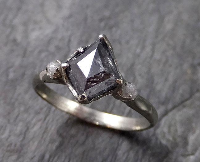 Fancy cut salt and pepper Diamond Engagement 18k White Gold Multi stone Wedding Ring Rough Diamond Ring byAngeline 1148