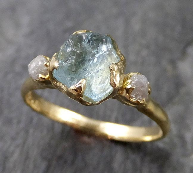 Raw Uncut Aquamarine Diamond Gold Engagement Ring Wedding 18k Ring Custom One Of a Kind Gemstone Bespoke Three stone Ring 1151