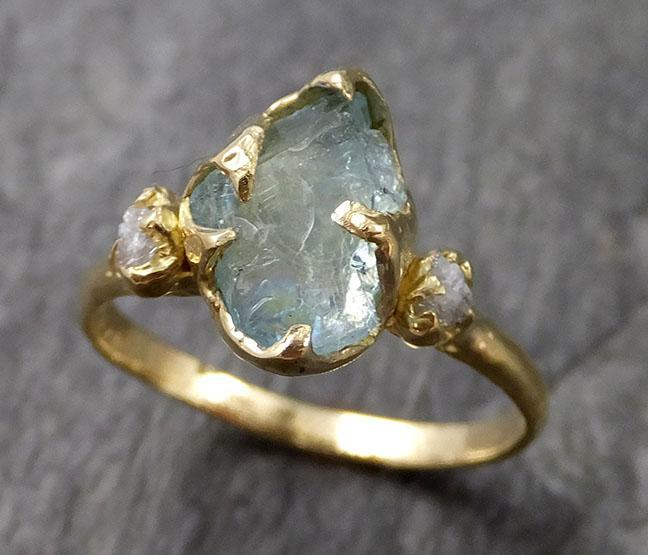 Raw Uncut Aquamarine Diamond Gold Engagement Ring Wedding 18k Ring Custom One Of a Kind Gemstone Bespoke Three stone Ring 1152
