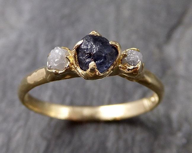 Raw Garnet Diamond 18k Gold Engagement Ring Multi stone Wedding Ring Custom One Of a Kind blue Gemstone Ring 1153