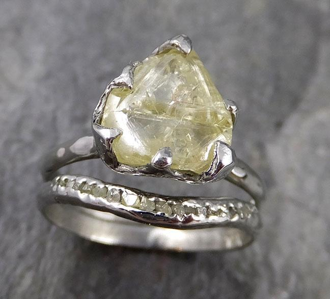 Uncut Yellow Macle Diamond Solitaire Engagement 18k White Gold Wedding Set byAngeline 1156