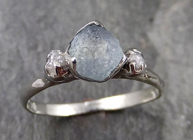 Raw Montana Sapphire Diamond White Gold Engagement Ring Wedding Ring Custom One Of a Kind Gemstone Multi stone Ring 1155