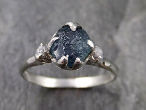 Raw Montana Sapphire Diamond White Gold Engagement Ring Wedding Ring Custom One Of a Kind Gemstone Multi stone Ring 1158
