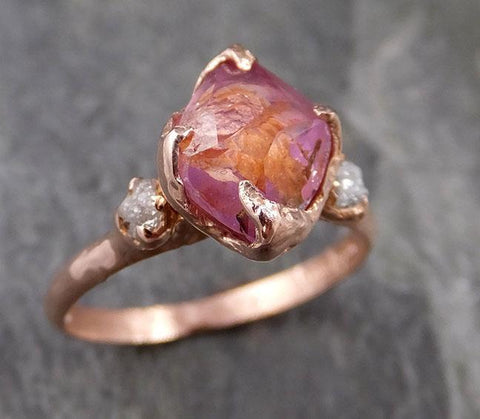 Sapphire Partially Faceted Multi stone Rough Diamond 14k rose Gold Engagement Ring Wedding Ring Custom One Of a Kind Gemstone Ring 1164