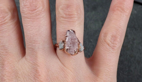 Morganite Diamond Raw Uncut rose 14k Gold Engagement Ring Multi stone Wedding Ring Custom One Of a Kind Gemstone Bespoke byAngeline 1167