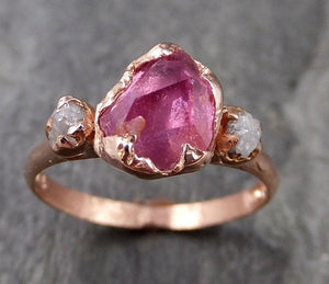 Partially Faceted Sapphire Raw Multi stone Rough Diamond 14k rose Gold Engagement Ring Wedding Ring Custom One Of a Kind Gemstone Ring Three stone 1170