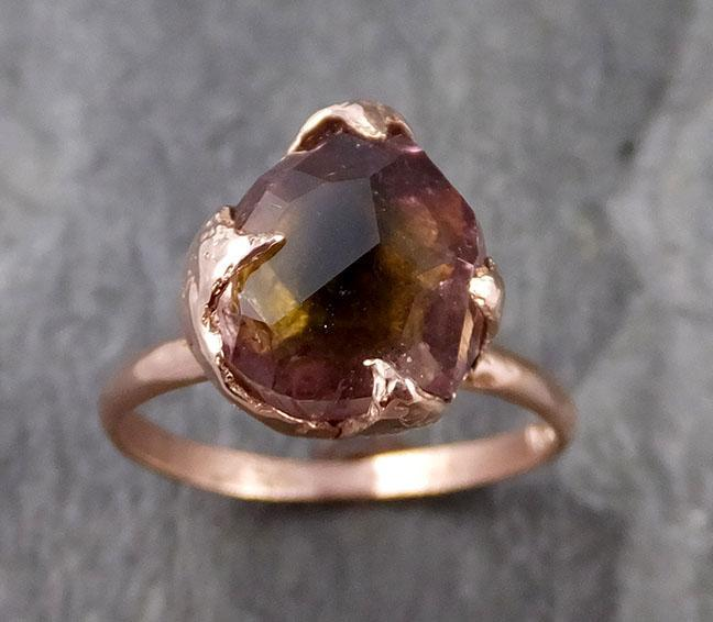 Partially faceted Tourmaline Solitaire 14k Rose Gold Engagement Ring One Of a Kind Gemstone Ring byAngeline 1168