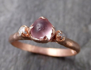 Raw Sapphire Diamond Rose Gold Engagement Ring Wedding Ring Custom One Of a Kind Gemstone Multi stone Ring 1169
