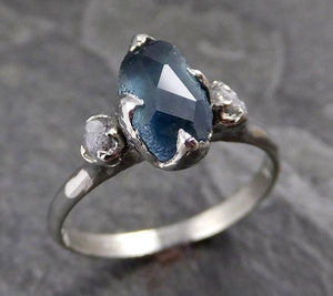 Partially faceted Montana Sapphire Diamond 18k White Gold Engagement Ring Wedding Ring Custom One Of a Kind blue-green Gemstone Ring Multi stone Ring 1171