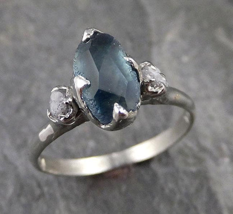 Partially faceted Montana Sapphire Diamond 18k White Gold Engagement Ring Wedding Ring Custom One Of a Kind blue Gemstone Ring Multi stone Ring 1171