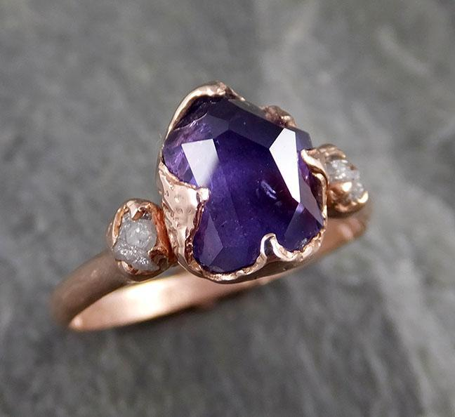 Partially Faceted ultraviolet Sapphire Raw Multi stone Rough Diamond 14k rose Gold Engagement Ring Wedding Ring Custom One Of a Kind Gemstone Ring Three stone 1172