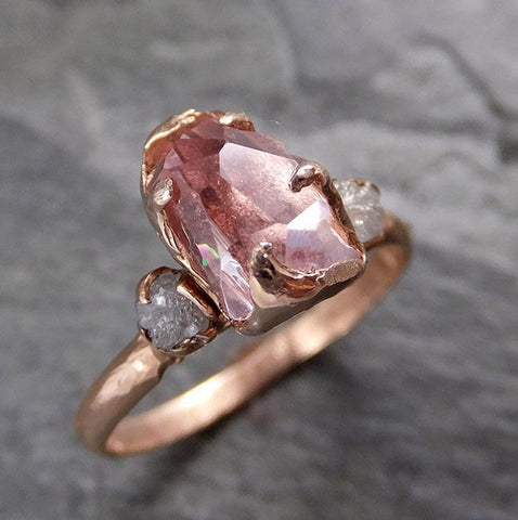 Partially Faceted Pink Topaz Diamond 14k rose Gold Ring One Of a Kind Gemstone Ring Recycled gold byAngeline Multi stone 1174