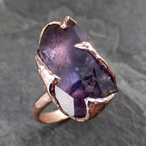 Partially Faceted Sapphire Solitaire 14k rose Gold Engagement Ring Wedding Ring Custom One Of a Kind Gemstone Ring 1176