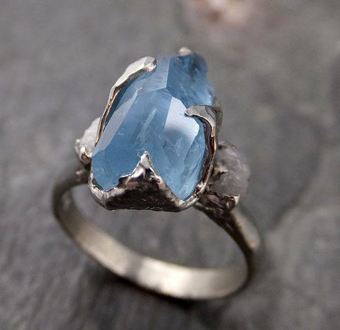 Raw Rough and partially Faceted Aquamarine Diamond 14k White Gold Multi stone Ring One Of a Kind Gemstone Ring Recycled gold 1180