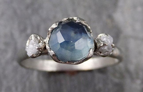 Partially faceted Montana Sapphire Diamond 14k White Gold Engagement Ring Wedding Ring Custom One Of a Kind blue Gemstone Ring Multi stone Ring 1181