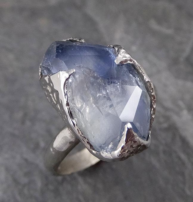 Partially Faceted Sapphire Solitaire 14k white Gold Engagement Ring Wedding Ring Custom One Of a Kind Gemstone Ring 1182