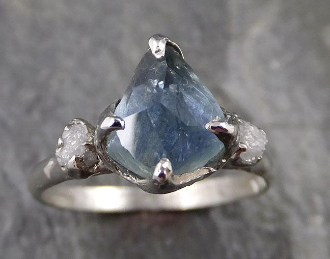 Partially faceted Montana Sapphire Diamond 14k White Gold Engagement Ring Wedding Ring Custom One Of a Kind blue Gemstone Ring Multi stone Ring 1184