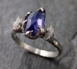 Partially faceted Montana Sapphire Diamond 14k White Gold Engagement Ring Wedding Ring Custom One Of a Kind blue Gemstone Ring Multi stone Ring 1186