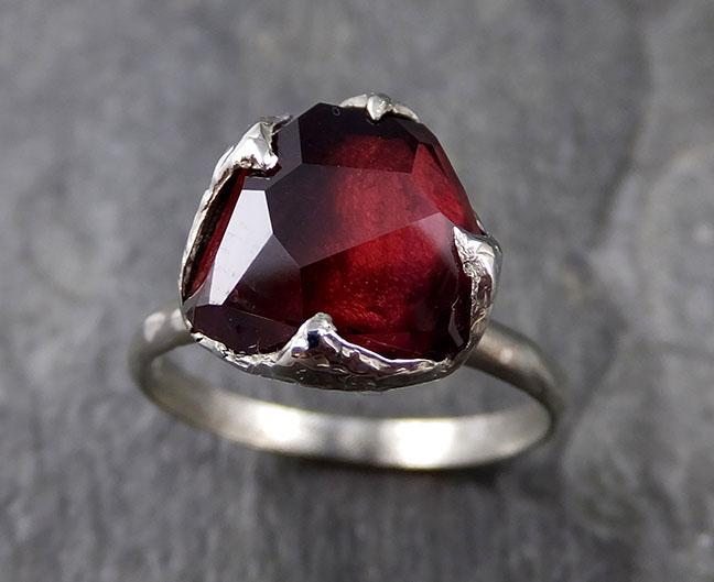 Partially faceted Natural Garnet Gemstone ring Recycled White Gold One of a kind Gemstone ring 1187