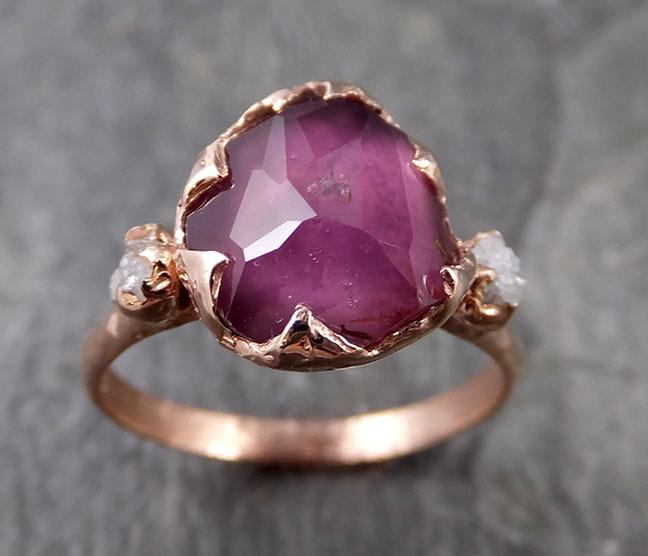 Partially Faceted Sapphire Raw Multi stone Rough Diamond 14k rose Gold Engagement Ring Wedding Ring Custom One Of a Kind Gemstone Ring 1188