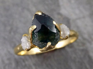 Partially faceted Montana Sapphire natural green sapphire gemstone Raw Rough Diamond 18k Yellow Gold Engagement ring multi stone 1190