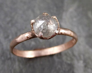 Faceted Fancy cut white Diamond Solitaire Engagement 14k Rose Gold Wedding Ring byAngeline 1191