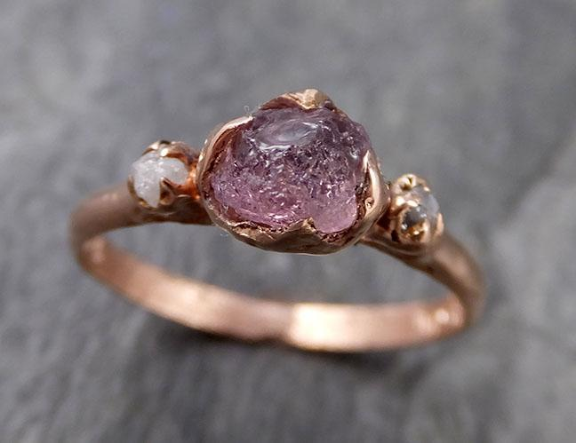 Sapphire Raw Multi stone Rough Diamond 14k rose Gold Engagement Ring Wedding Ring Custom One Of a Kind Gemstone Ring 1192