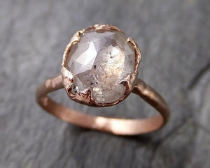 Faceted Fancy cut white Diamond Solitaire Engagement 14k Rose Gold Wedding Ring byAngeline 1193