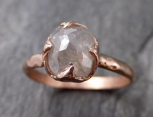 Faceted Fancy cut white Diamond Solitaire Engagement 14k Rose Gold Wedding Ring byAngeline 1194