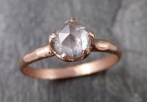 Faceted Fancy cut Salt and pepper Diamond Solitaire Engagement 14k Rose Gold Wedding Ring byAngeline 1199