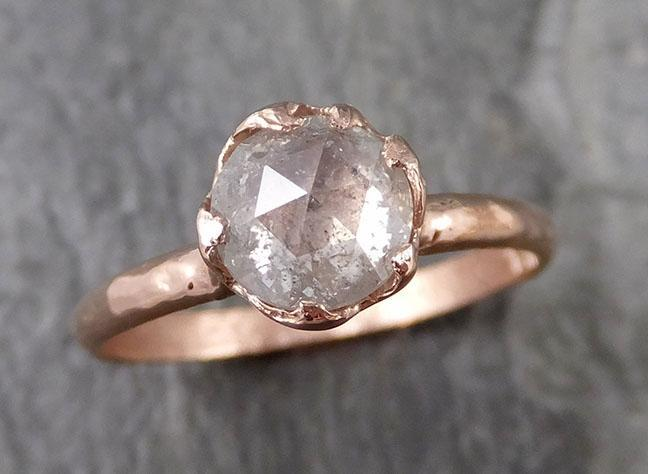 Fancy cut white Diamond Engagement 14k Rose Gold Solitaire stone Wedding Ring Stacking byAngeline 1200