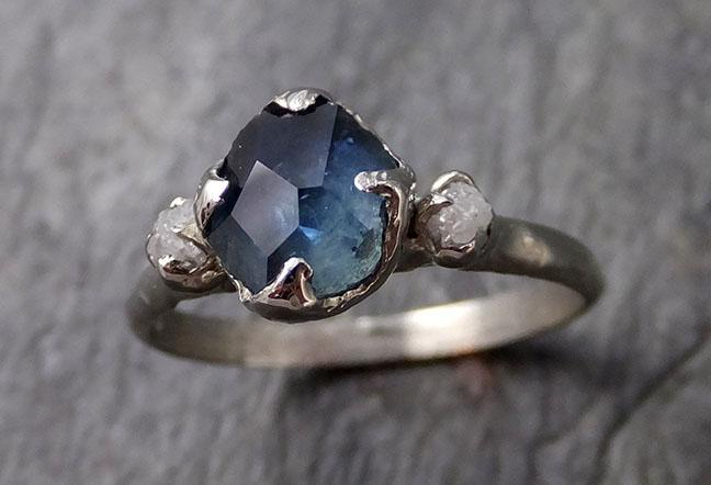 Partially faceted Montana Sapphire Diamond 14k white Gold Engagement Ring Wedding Ring Custom One Of a Kind blue Gemstone Ring Multi stone Ring 1201