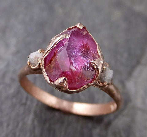 Partially Faceted Sapphire Raw Multi stone Rough Diamond 14k rose Gold Engagement Ring Wedding Ring Custom One Of a Kind Gemstone Ring 1202