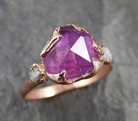 Partially Faceted Sapphire Raw Multi stone Rough Diamond 14k rose Gold Engagement Ring Wedding Ring Custom One Of a Kind Gemstone Ring 1203